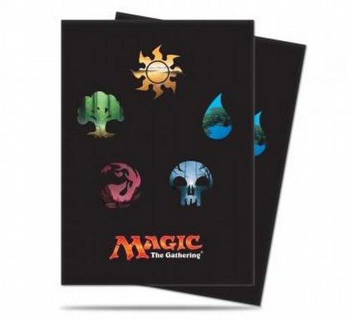 Ultra Pro Standard Size Deck Protectors - Magic Mana 5 All Symbol Pack