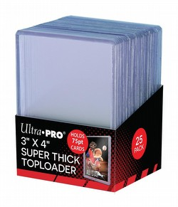 "Ultra Pro 3"" x 4"" Thick (75 pt) Toploaders Pack [1 pack of 25 Toploaders]"