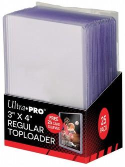 """Ultra Pro 3"""" x 4"""" Lite Gauge (Regular) Toploaders Pack [1 pack of 25 Toploaders with 25 sleeves]"""