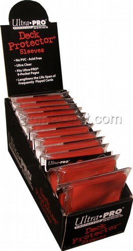 Ultra Pro Standard Size Deck Protectors Box - Red [12 packs/66mm x 91mm]