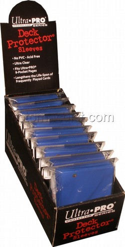 Ultra Pro Size Deck Protectors Box - Blue [10 packs/62mm x 89mm] (New Hologram Location)