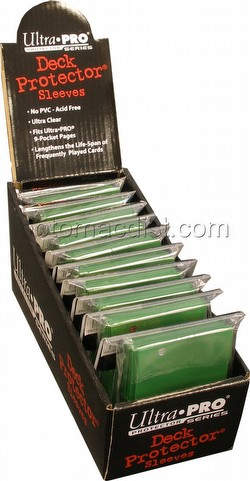Ultra Pro Size Deck Protectors Box - Green [10 packs/62mm x 89mm] (New Hologram Location)