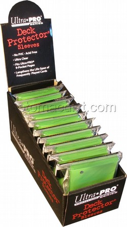 Ultra Pro Size Deck Protectors Box - Lime Green [10 packs/62mm x 89mm] (New Hologrm Location)