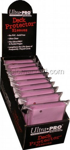 Ultra Pro Size Deck Protectors Box - Pink [10 packs/62mm x 89mm] (New Hologram Location)