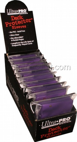 Ultra Pro Size Deck Protectors Box - Purple [10 packs/62mm x 89mm] (New Hologram Location)