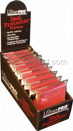 Ultra Pro Size Deck Protectors Box - Red [10 packs/62mm x 89mm] (New Hologram Location)