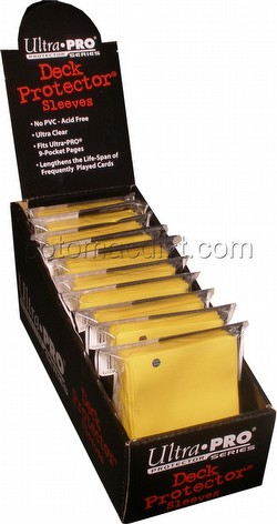 Ultra Pro Size Deck Protectors Box - Yellow [10 packs/62mm x 89mm] (New Hologram Location)